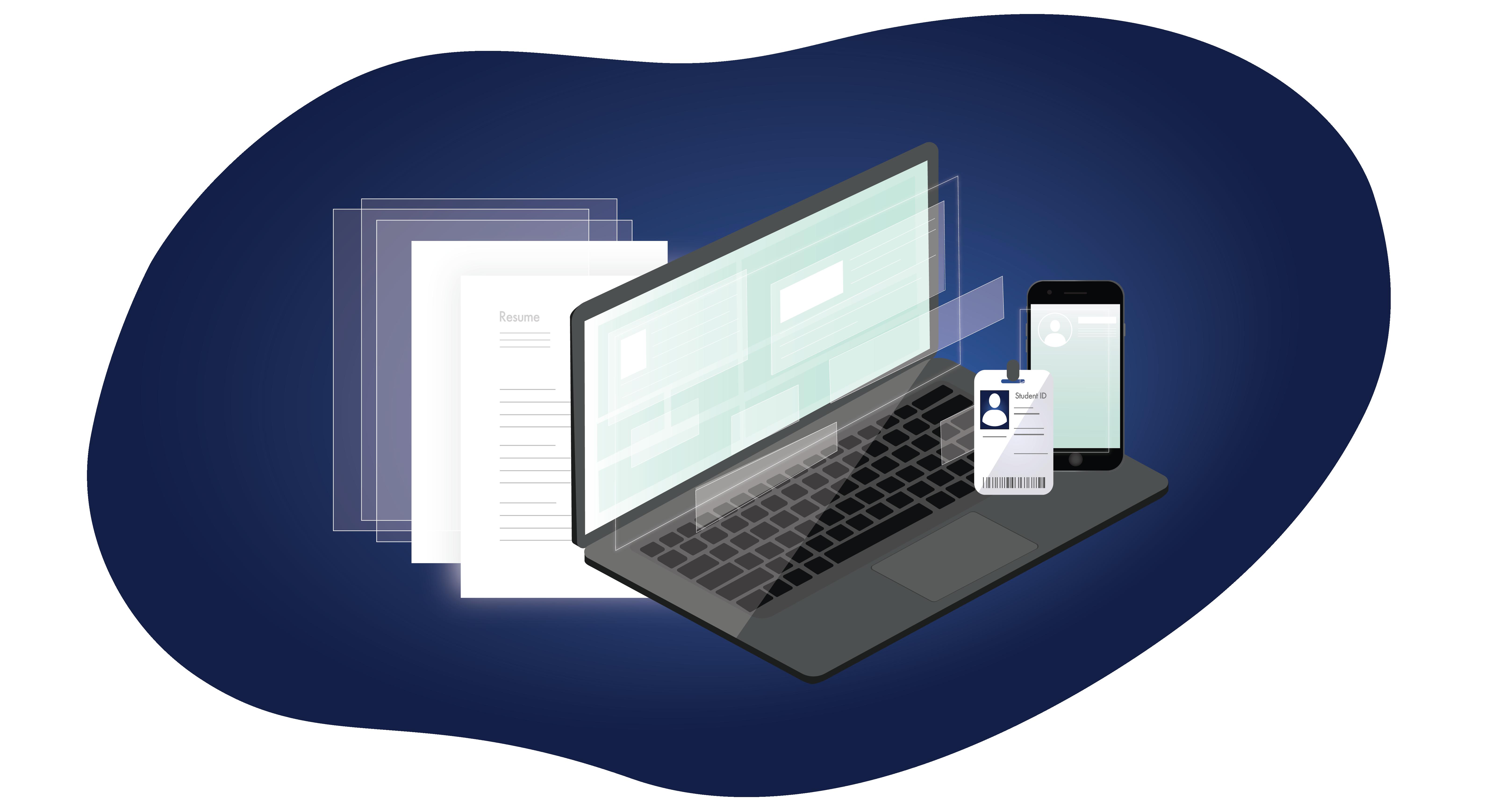 healthcare documents, ID, illustration